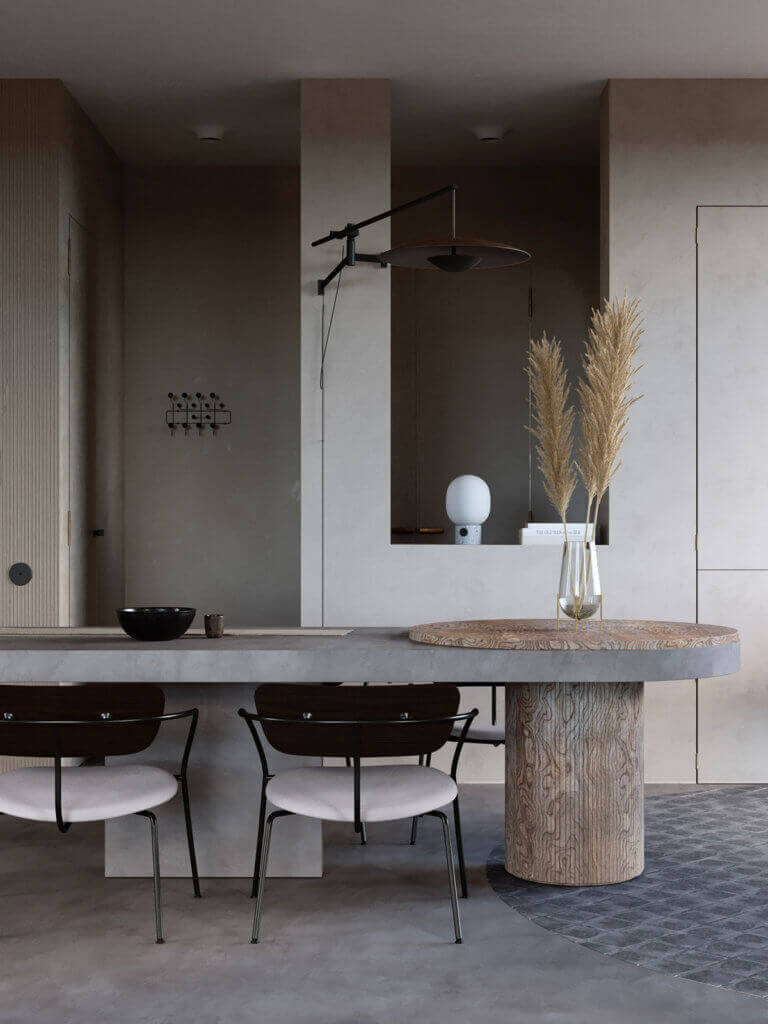 Warsaw top penthouse design dining table wood concrete - cgi visualization
