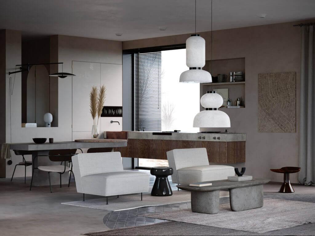 Warsaw top penthouse design kitchen living - cgi visualization