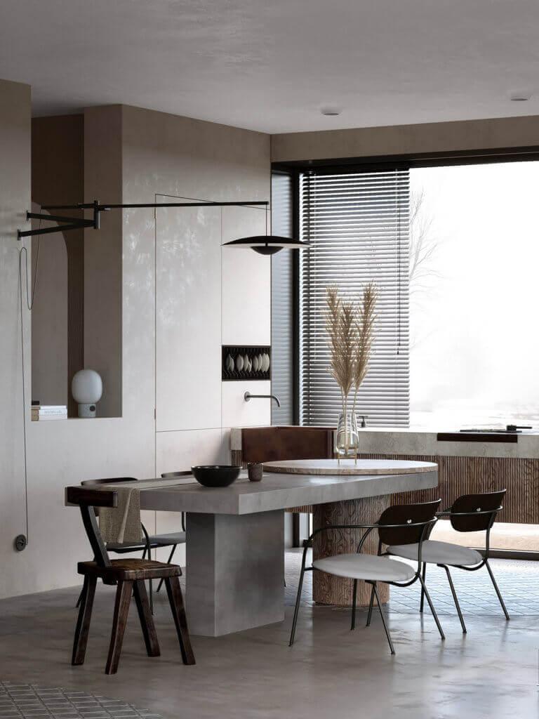 Warsaw top penthouse design table concrete - cgi visualization