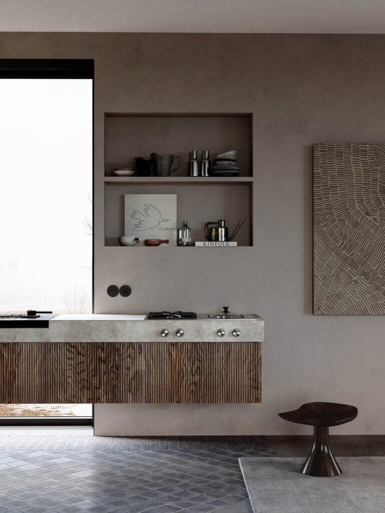 Warsaw top penthouse design wood kitchen concrete - cgi visualization
