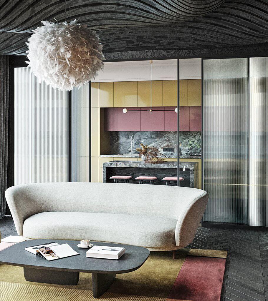 Colourful and stylish interior design inspiration header - cgi visualization