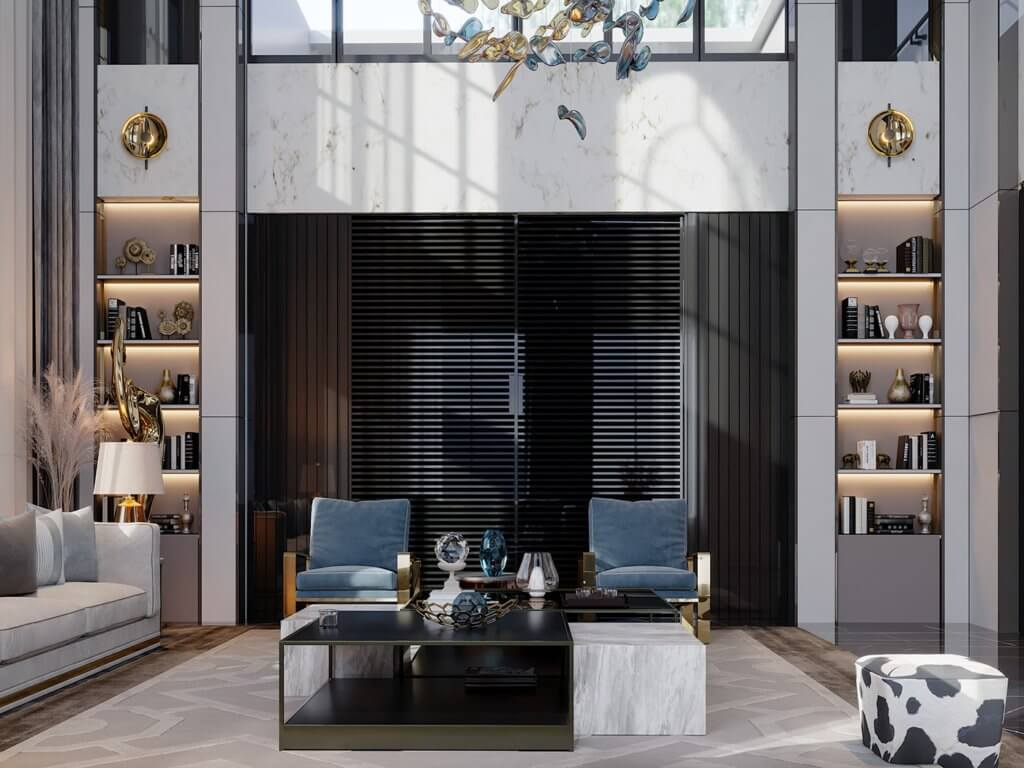 Double height living hall design - cgi visualization(1)