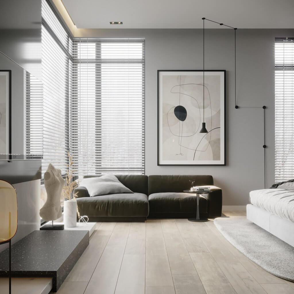 Interior Design trendy and minimalistic living room - cgi visualization(2)