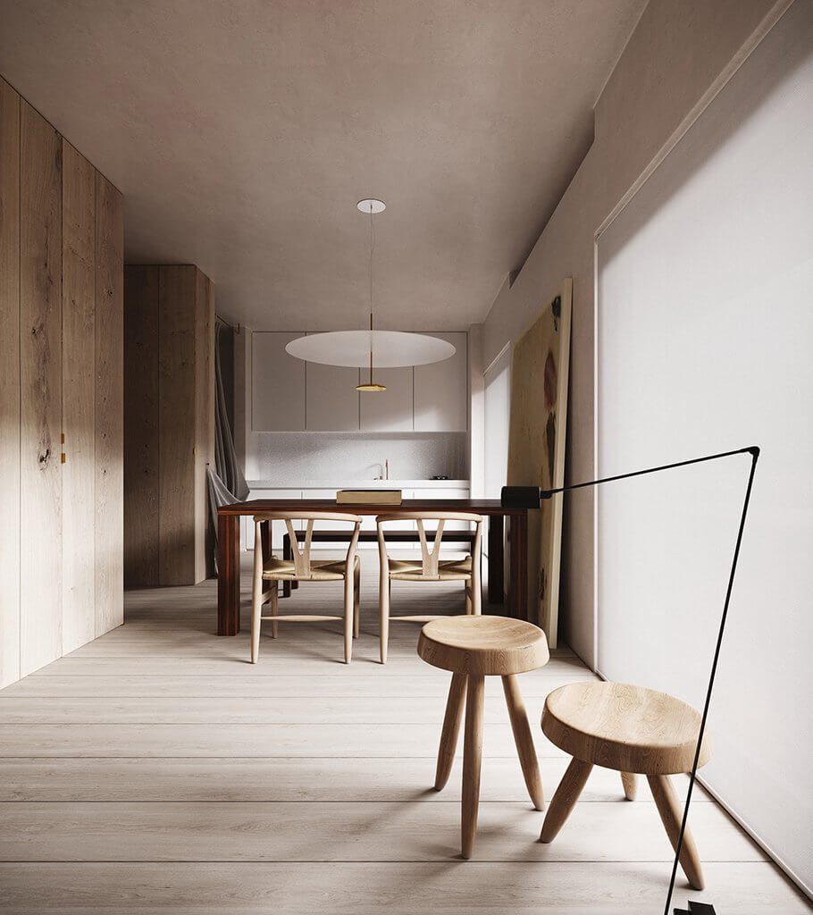 Light stylish interior design apartment header - cgi visualization
