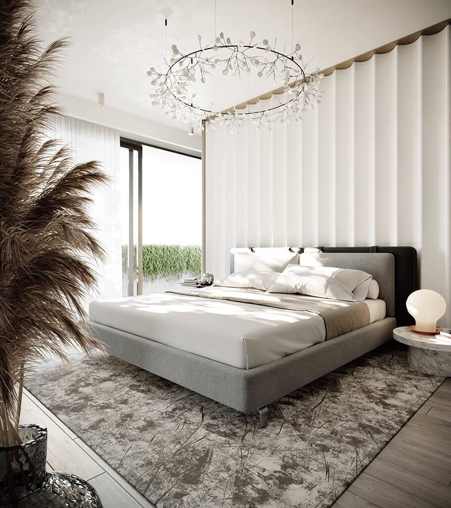 Minimalistic classic bedroom design header - cgi visualization Kopie