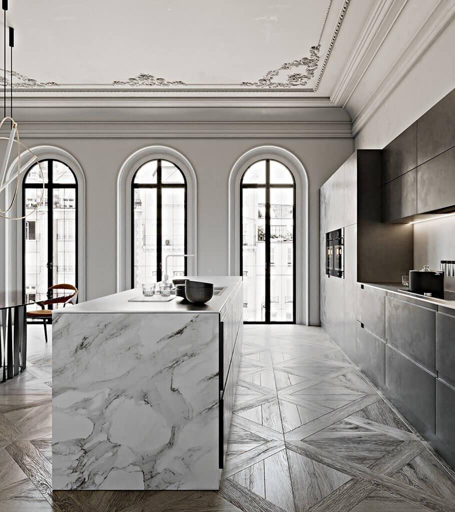 Neoclassic interior kitchen design header - cgi visualization