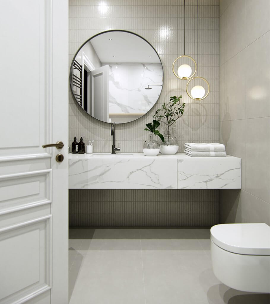 Stylish white bathroom design inspiration header - cgi visualization