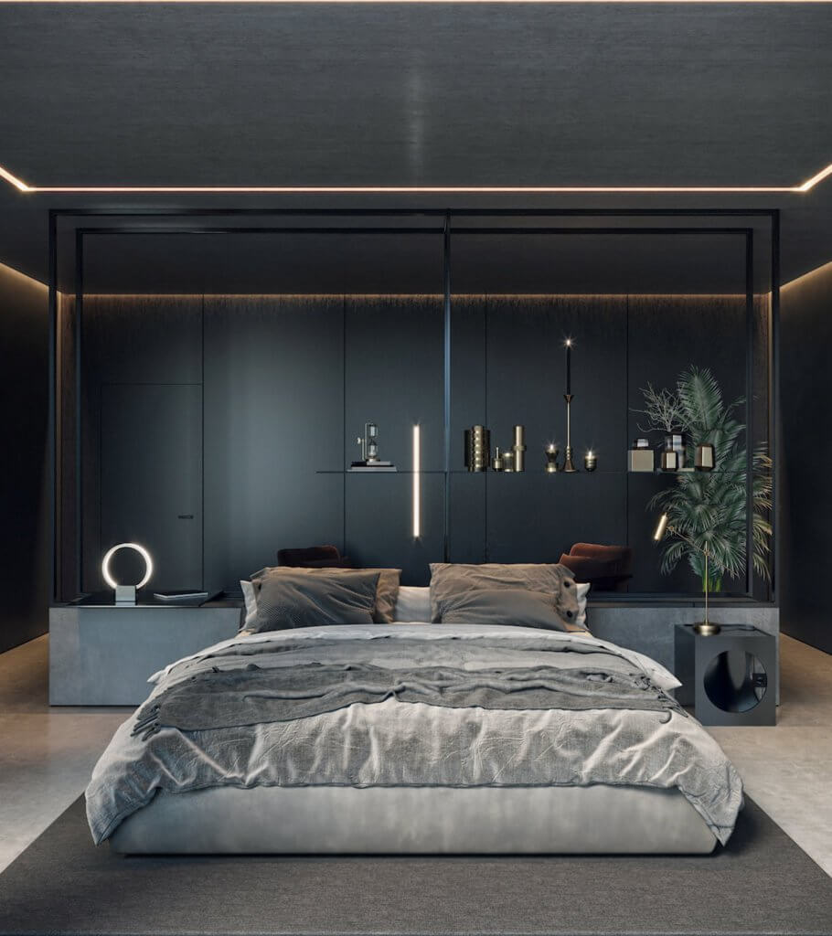 Dark bedroom design inspiration - cgi visualization