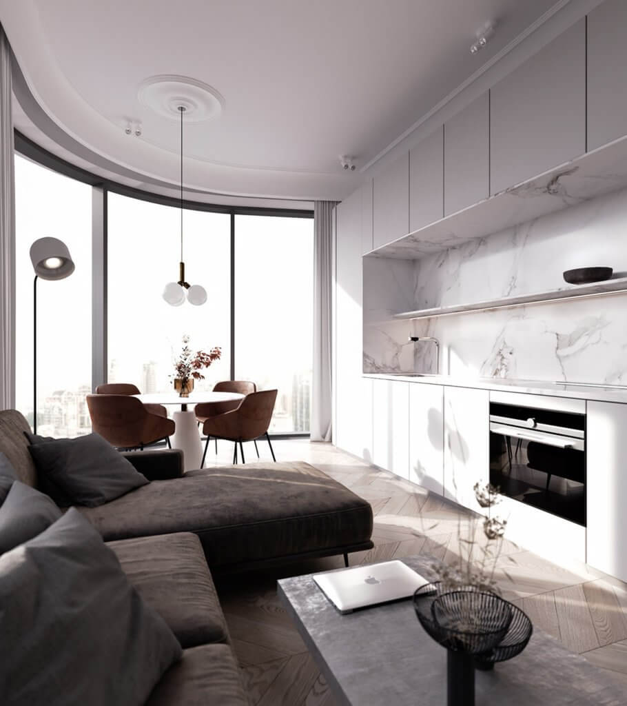 White and clean apartment design with charme - cgi visualization