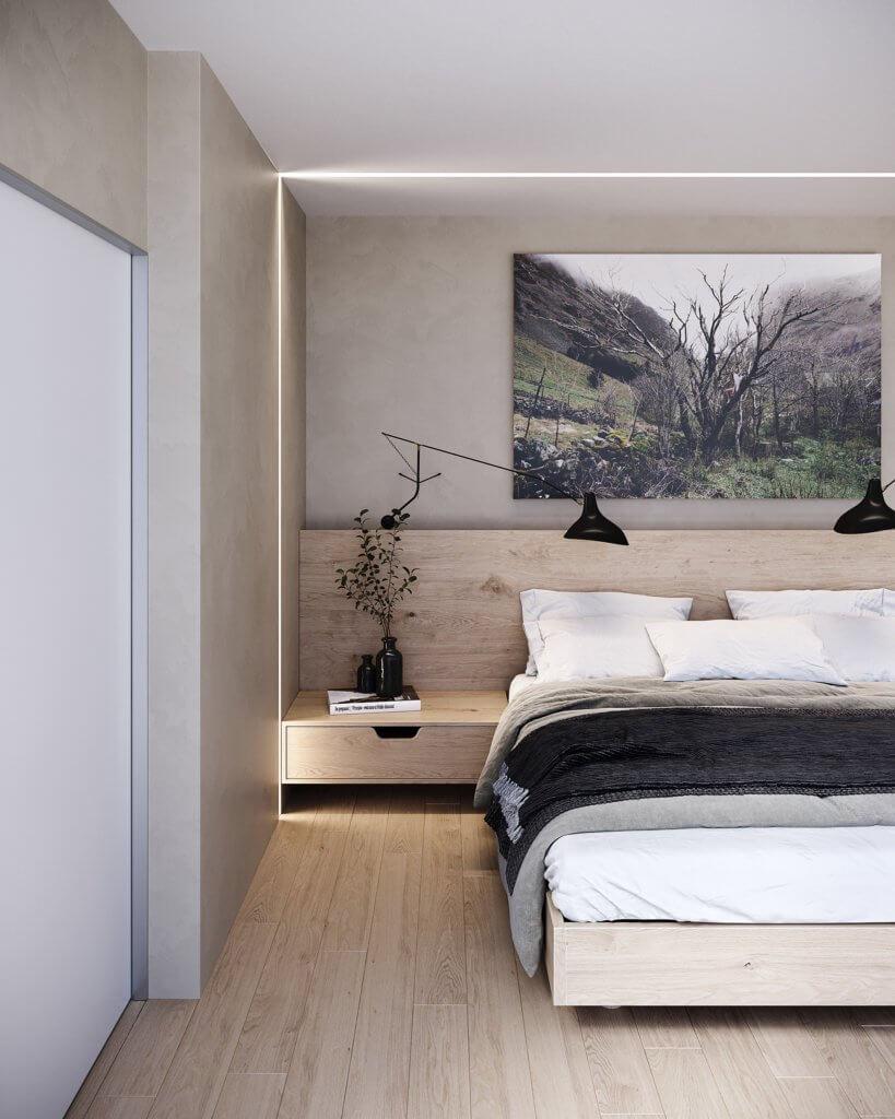 Stylish designer wooden apartment - cgi visualization