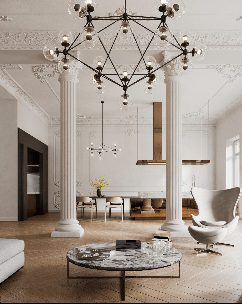 Classic and clean interior design penthouse - cgi visualization 3