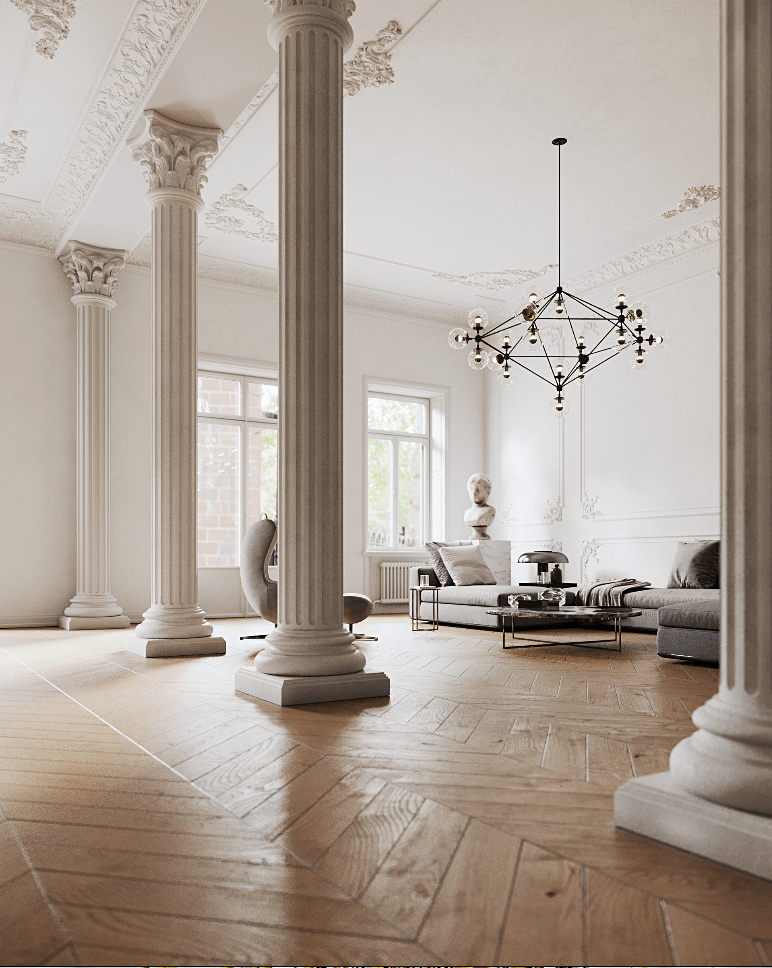 Classic and clean interior design penthouse - cgi visualization 4