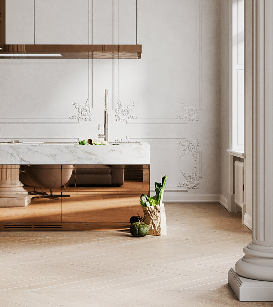 Classic and clean interior design penthouse - cgi visualization