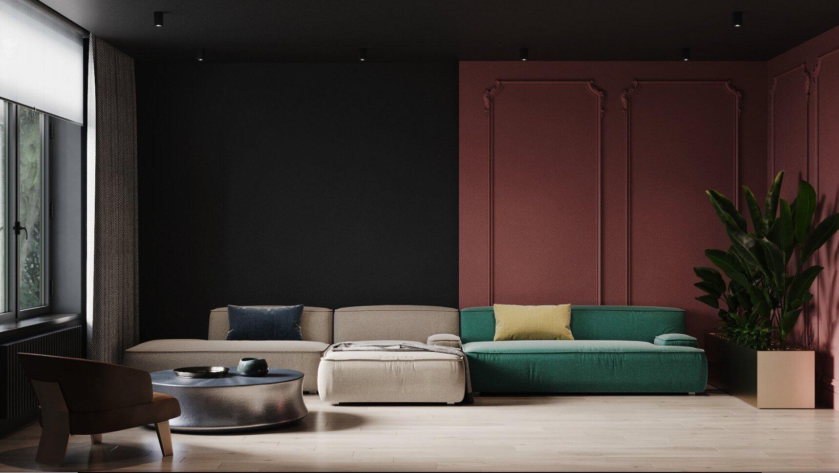 Dark penthouse design with brass kitchen design - cgi visualization 2