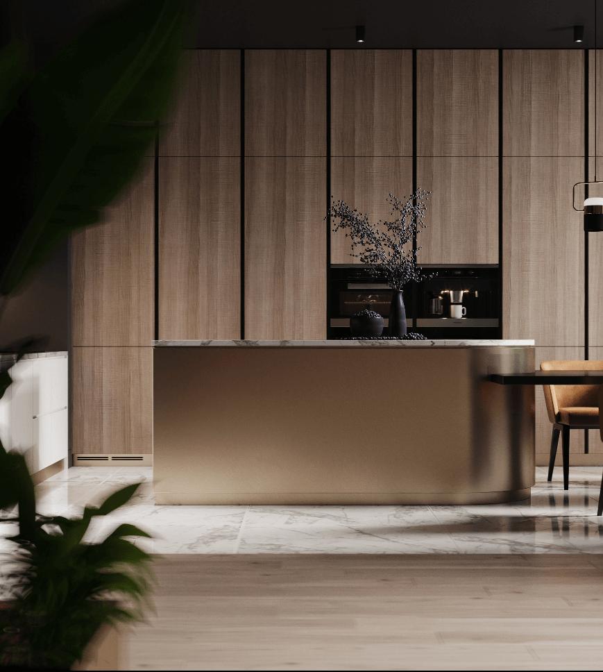 Dark penthouse design with brass kitchen design - cgi visualization 3