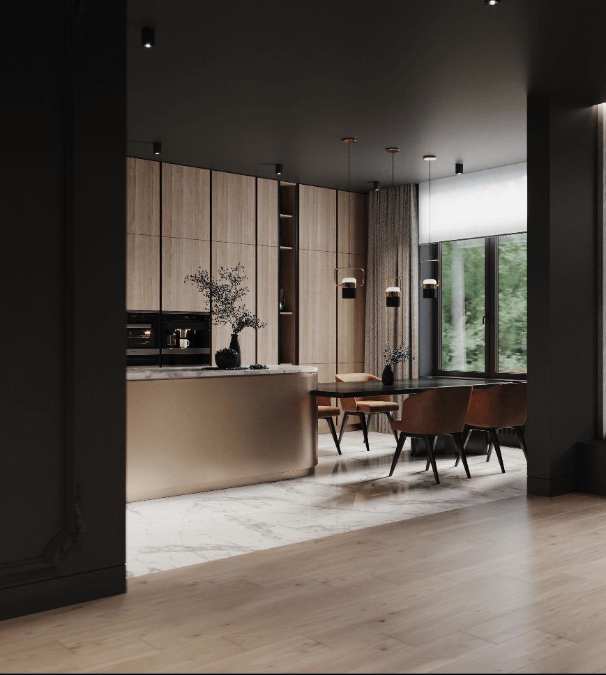 Dark penthouse design with brass kitchen design - cgi visualization 4
