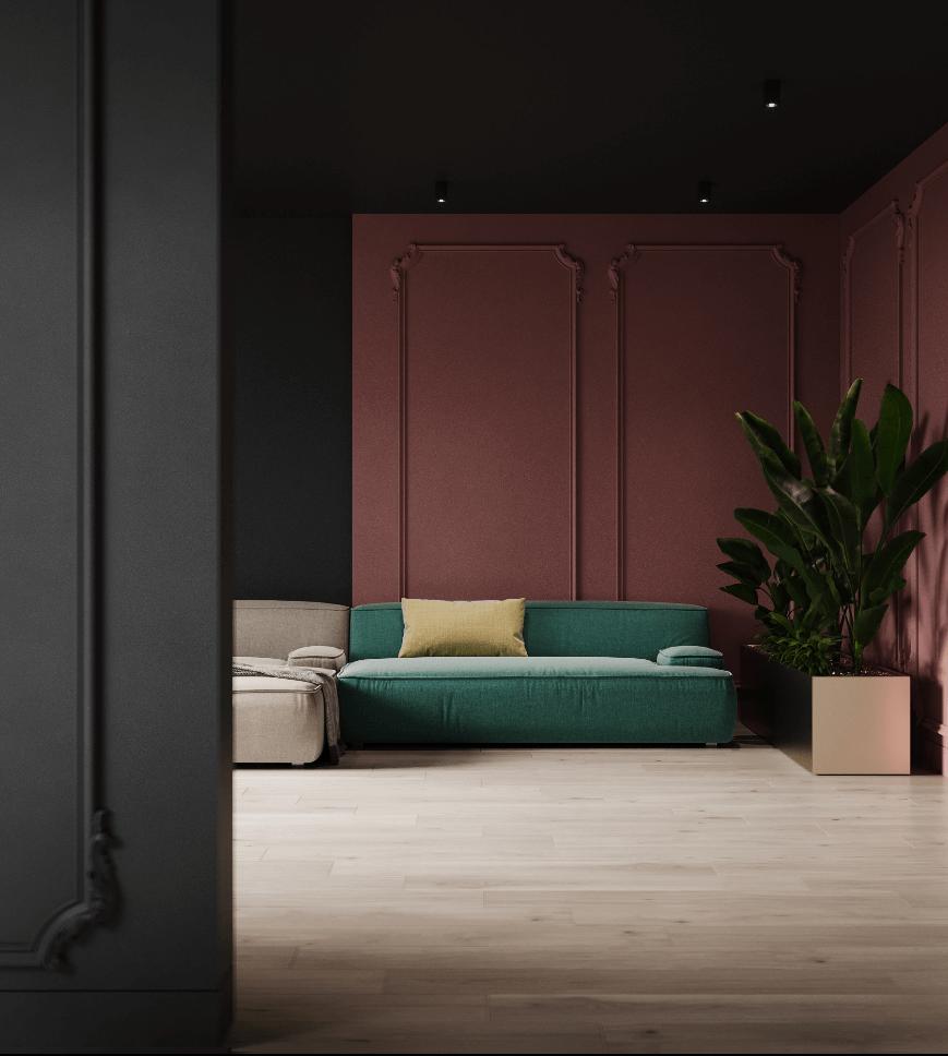 Dark penthouse design with brass kitchen design - cgi visualization 5