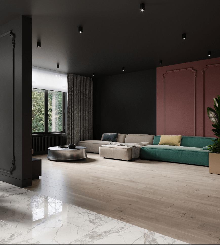 Dark penthouse design with brass kitchen design - cgi visualization 6
