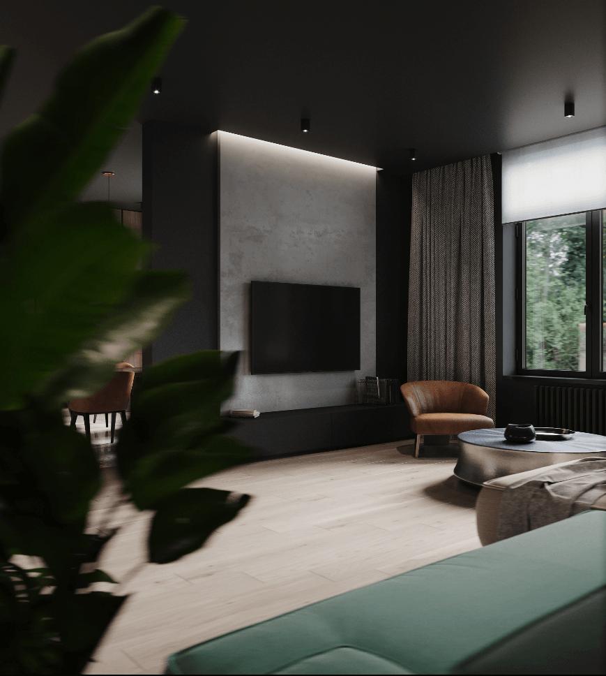 Dark penthouse design with brass kitchen design - cgi visualization 7