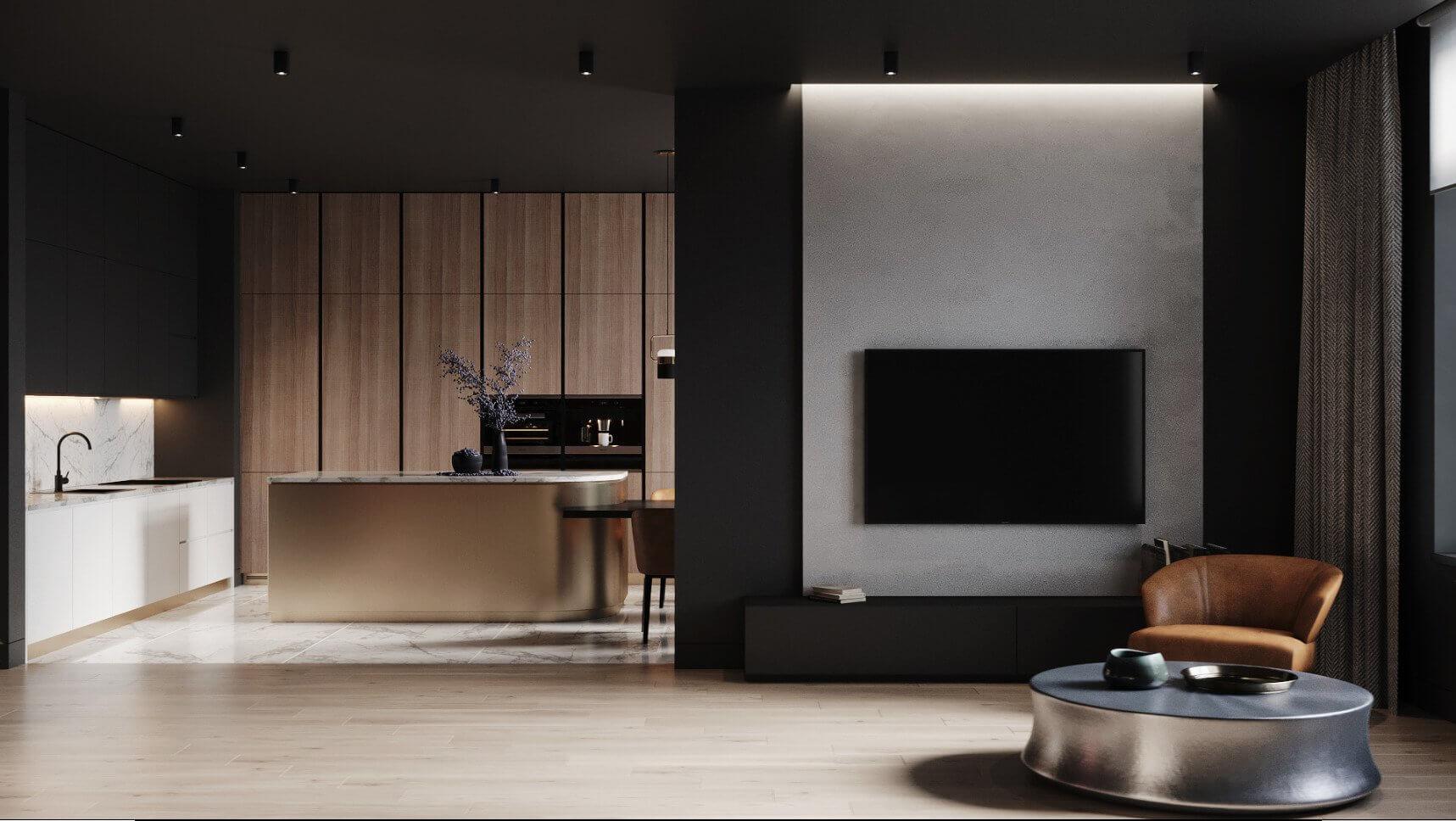 Dark penthouse design with brass kitchen design - cgi visualization 8