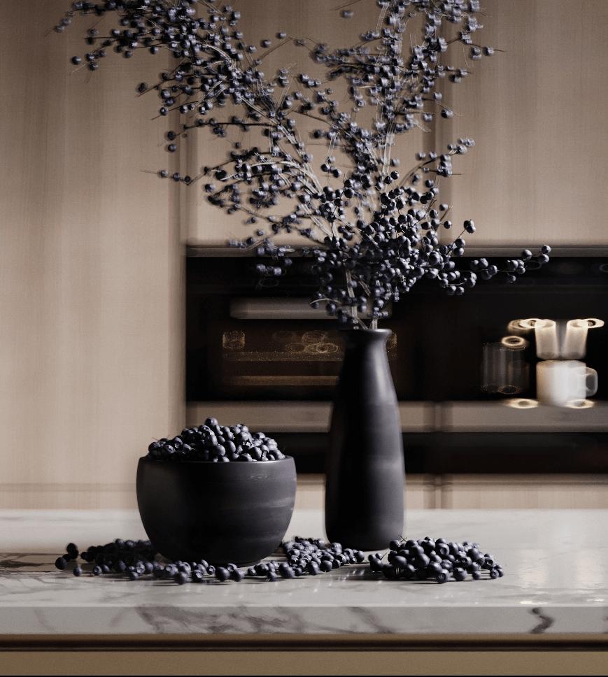 Dark penthouse design with brass kitchen design - cgi visualization 9