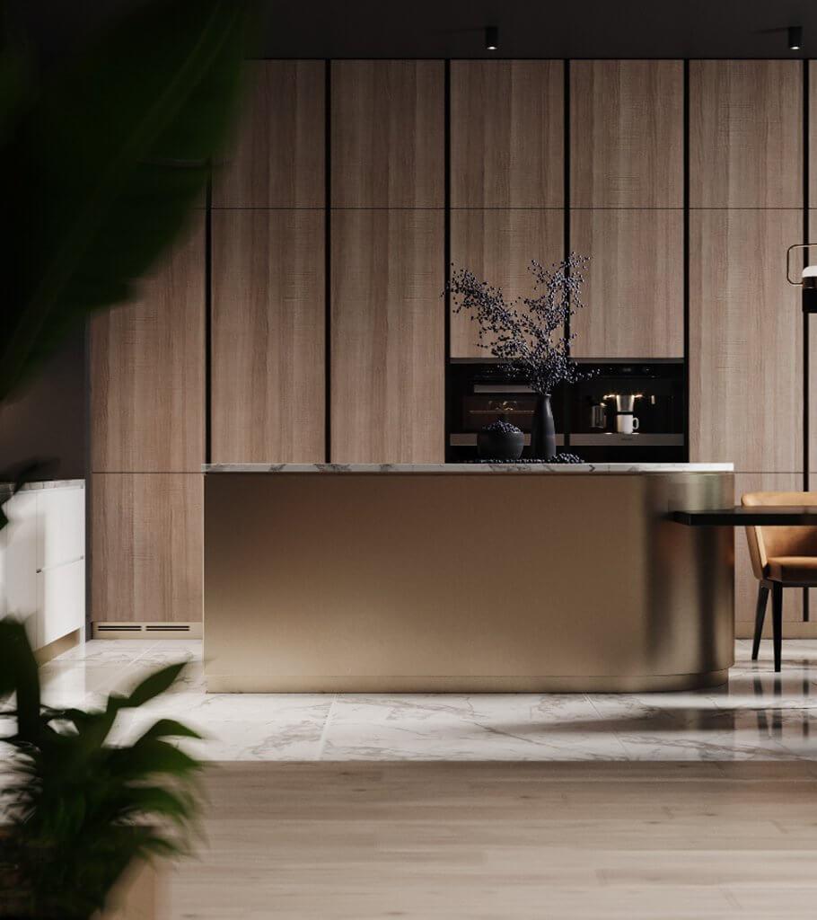 Dark penthouse design with brass kitchen design - cgi visualization header