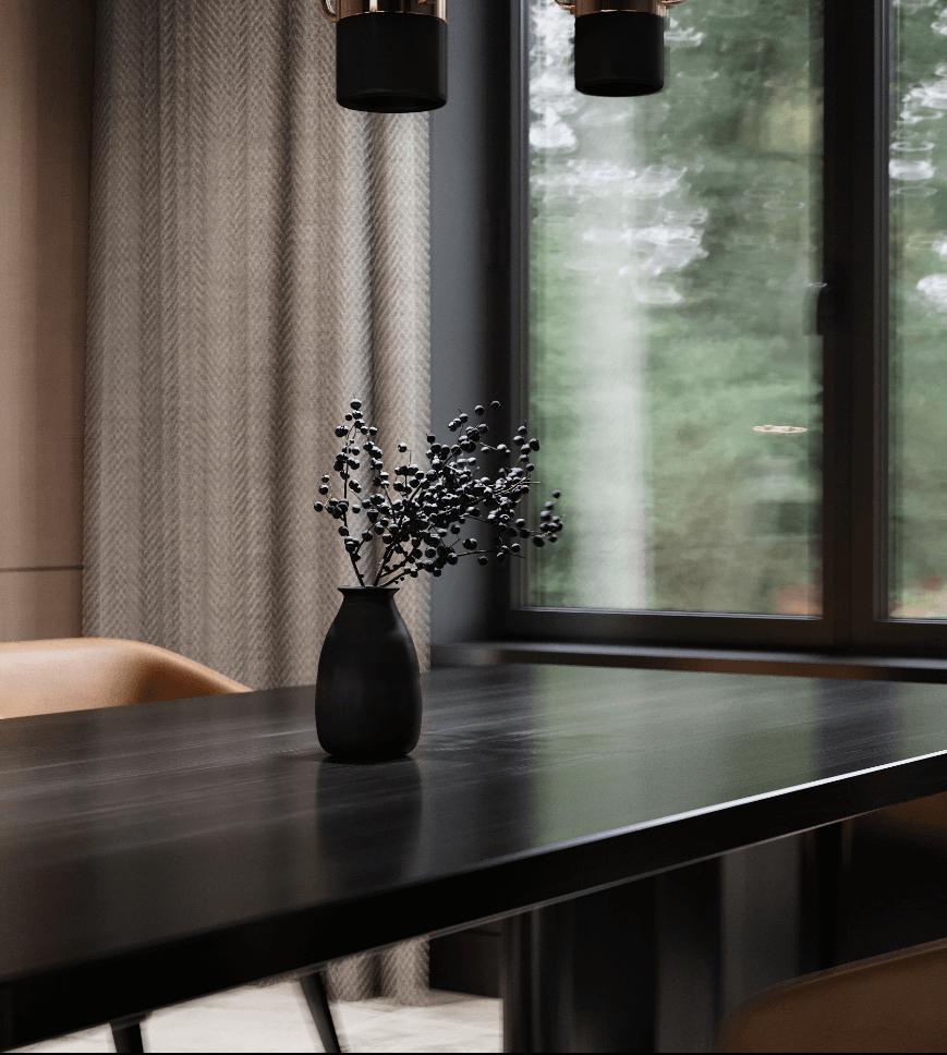 Dark penthouse design with brass kitchen design - cgi visualization