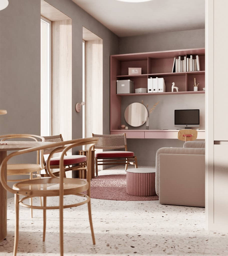 Dreams of pink interior header - cgi visualization