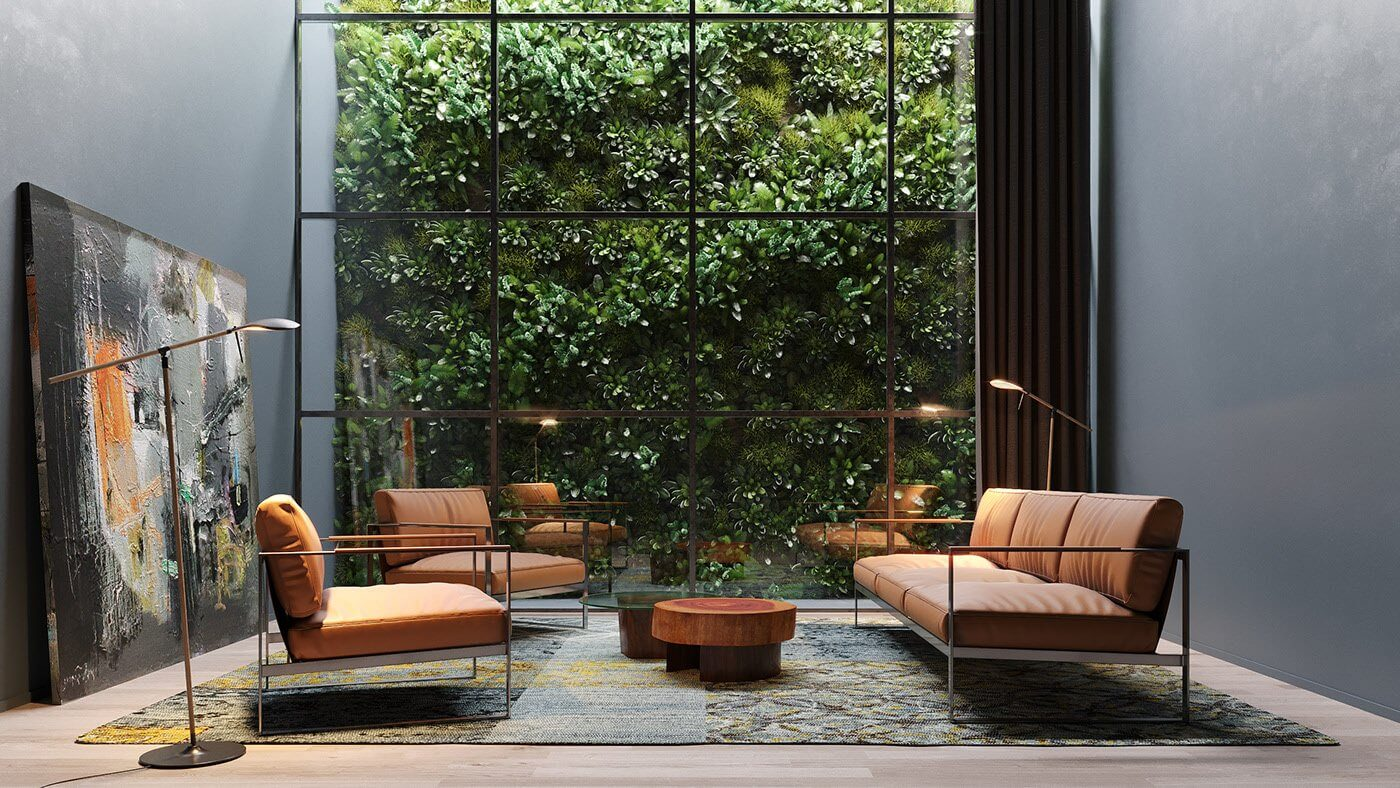 Cozy lobby area - cgi visualization