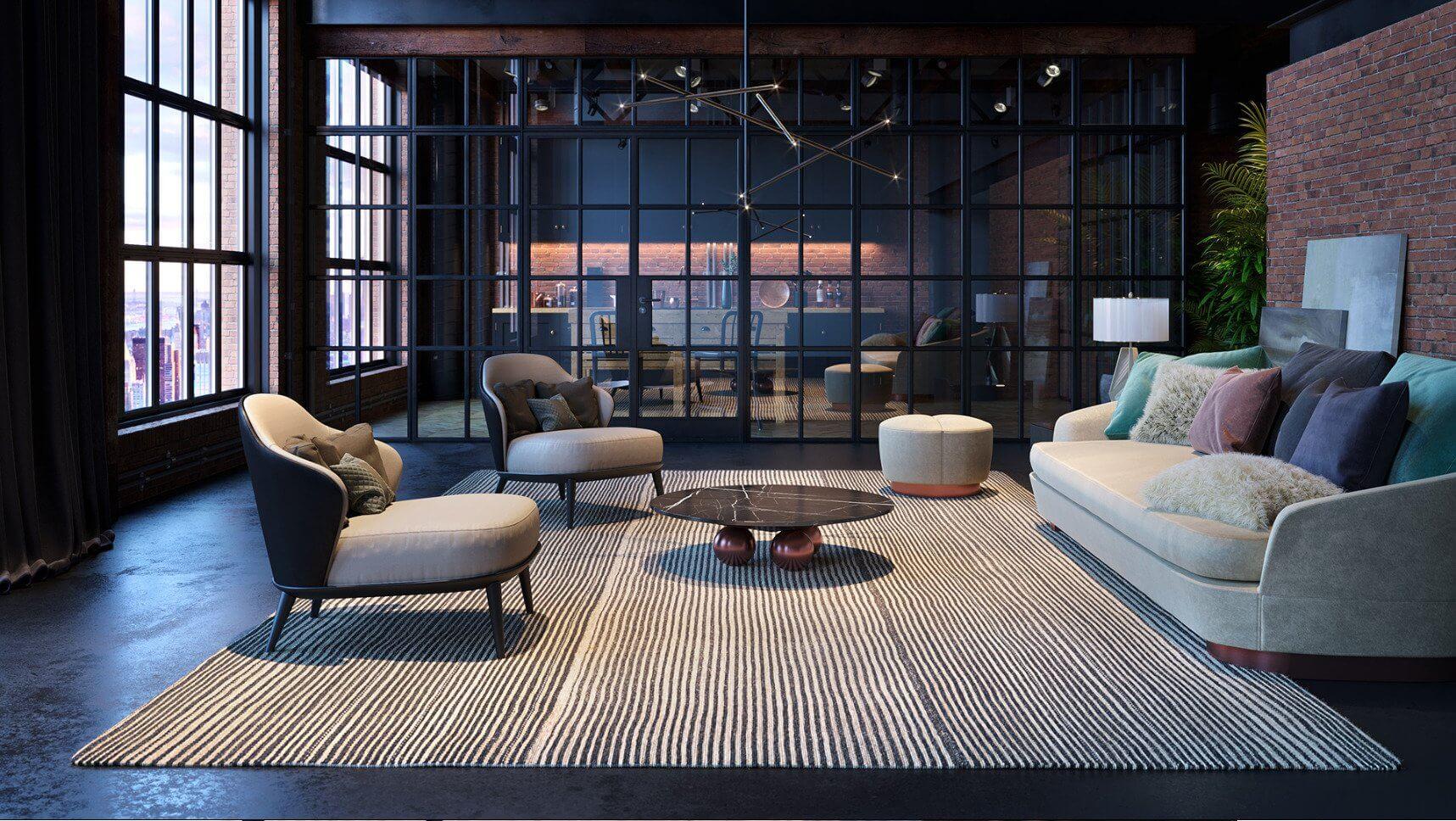 Lovely Living room interior design inspiration - cgi visualization 3